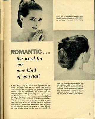 60s were the poodle cut and the French pleat and later the beehive which